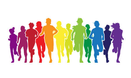 Colorful crowd of young people is running in the marathon on the white background.