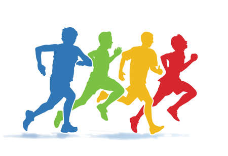 Colorful group of four young men running in the race on the white background.