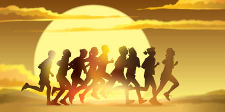 Crowd of young people is running in the marathon against a sunset background.