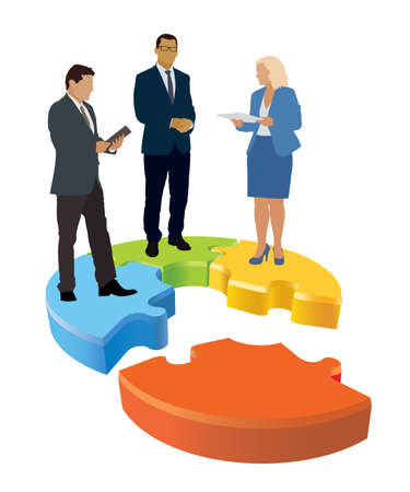 Businesspeople are standing on jigsaw puzzle shown as an organizational structure of the company. Vectores
