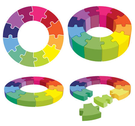 Colorful jigsaw puzzle in a ring as a corporate organizational structure. Vectores