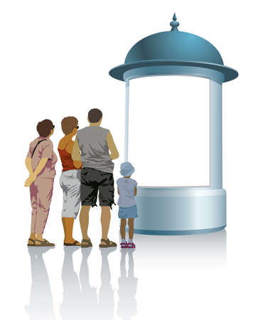 People are standing in front of an advertising column and looking at the poster.