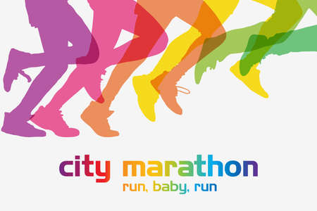달리기 경쟁. 사람들의 군중은 도시 마라톤에서 달리고있다.