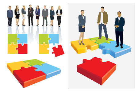 Create your own business team. Design elements. Businesspeople are standing on jigsaw puzzle shown as an organizational structure of the company. Vettoriali