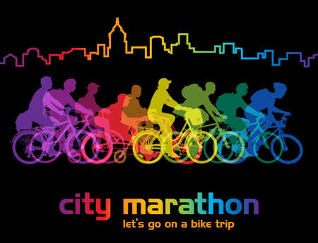 Group of cyclist on the bicycle tour around the city. Vector illustration.
