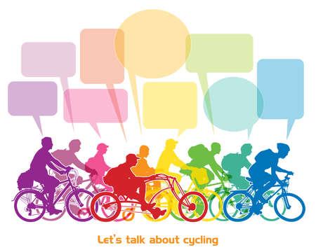 Group of cyclists riding bikes and talking about cycling. Vector illustration.