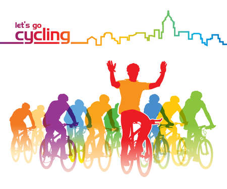 Group of cyclist on the bicycle tour around the city vector illustration.