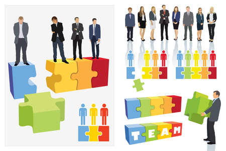 Create your own business team. Design elements. Businesspeople are standing on jigsaw puzzle shown as an organizational structure of the company. Vectores