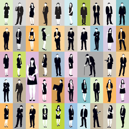Large collection of silhouettes of standing businesspeople over various colorful backgrounds.
