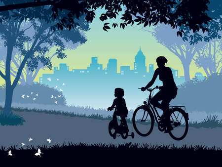 Happy mother and child cycling on a summer trip in the park. Vectores