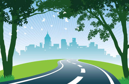 View of road, trees, meadows and the skyline of the city.  vector illustration.