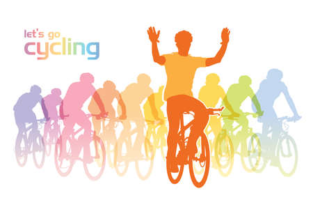 Illustration of a group of cyclist on the bicycle tour. Vector illustration. Vectores