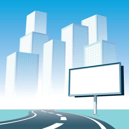 Blank billboard at the road, cityscape silhouette in the background. Vectores