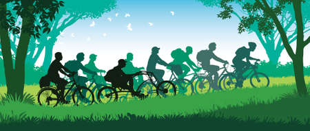 Group of happy cyclists on a summer bicycle trip in the park vector illustration.