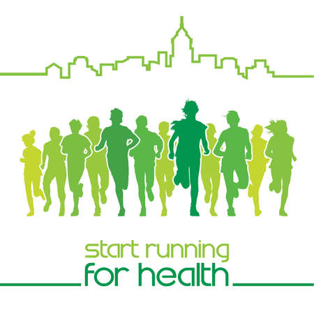 Front view of the crowd of young people running in the city marathon, with text, start running for health.