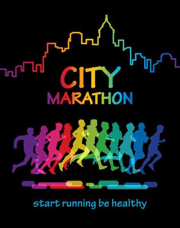 Colorful silhouette crowd of people running in the city marathon.
