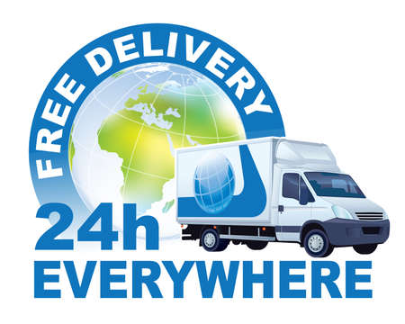 Free delivery sign. White delivery truck in front of large world globe.