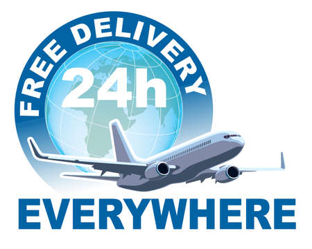 Free delivery sign. White commercial airplane in front of large world globe. Vector illustration.
