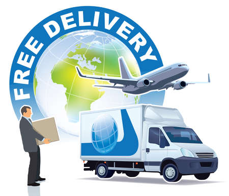 Free delivery sign. A businessman, a commercial airplane and a delivery truck in front of the large world globe.