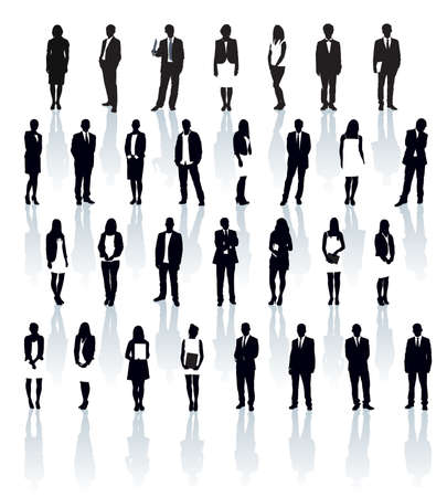 Large set of black and white silhouettes with shadows. Businesspeople: men and women.