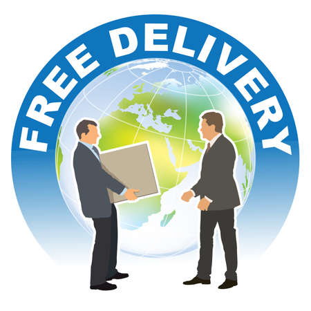 Free delivery sign. Meeting of two business people in front of the large world globe. Vectores