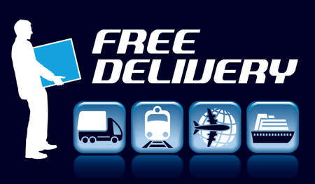 Free delivery sign. A businessman is holding a container next to transportation icons.