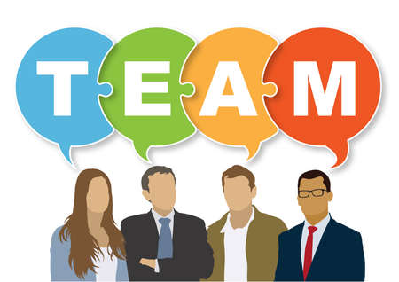 Good business team. The members of the team think differently, but they are talking together the same. Vector illustration. Vectores