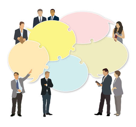 Good business team. The members of the team think differently, but they are talking together.