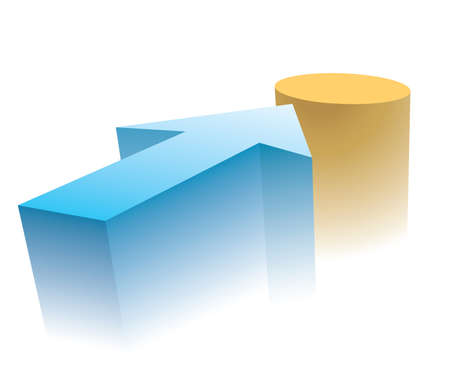 Blue arrow indicates the destination point. Concept business illustration.