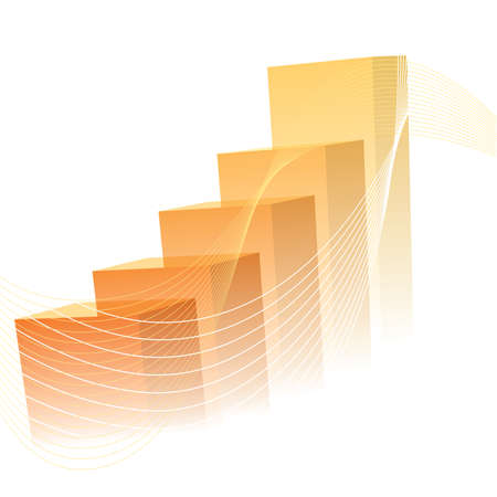 Business presentation, the orange graph shows the increase in value. Vectores