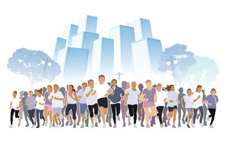 Front view of the crowd of young people running in the city marathon.  Illustration