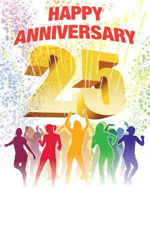 Colorful crowd of dancing people celebrating twenty-fifth anniversary