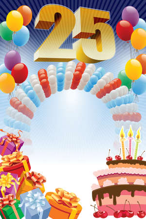 Twenty-fifth anniversary. Background with design elements and the birthday cake. The poster or invitation for twenty-fifth birthday or anniversary.
