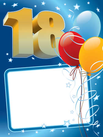 A Background with design elements the poster or invitation for the eighteenth anniversary