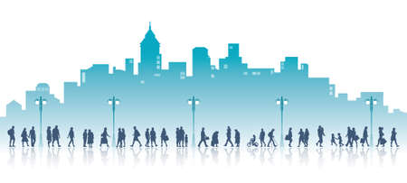 People on a walk, the city with high buildings in the background. Families, couples, kids and elderly people.