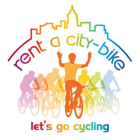 Sign for bicycle rentals with let's go cycling text