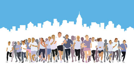 Front view of the crowd of people running with a blue and white background