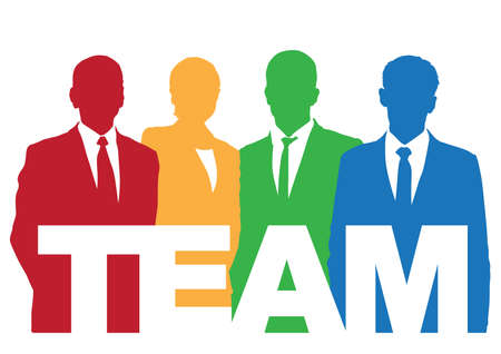 Good business team. The members of the team think differently, but they work together.