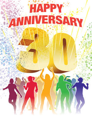 Colorful crowd of dancing people celebrating thirtieth anniversary.