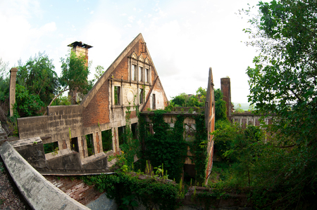 the ruins of Abkhazia. red case. Sukhumi Stock Photo