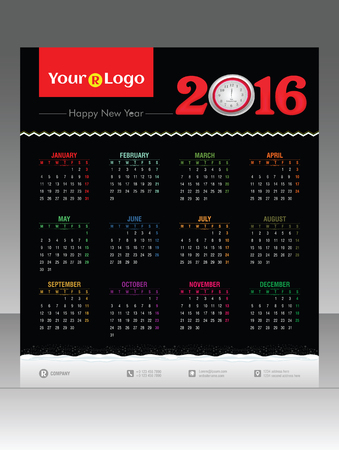 abstract 2016 calendar vector illustration