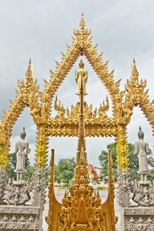 preach: Temples in Thailand, Thai, priests, monks, preach, two color, style, Thai identity, perspective, color, religious Stock Photo