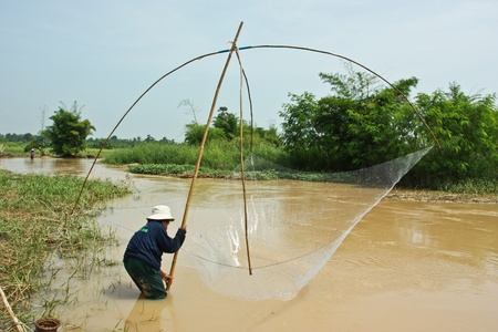 Water, a lot, and recharge the person bold, canal water, fish, fishermen, fishing, freshwater fishing in Thailand