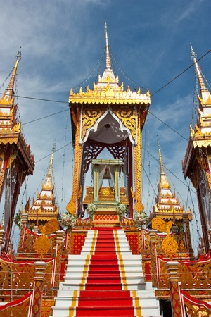 Pavilion at the cremation of Buddhist monks in Thailand. Was made for the cremation. It is not permanent. Moveable Expensive to construct. Is unique to the Thai people. Stock Photo