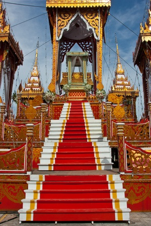 moveable: Pavilion at the cremation of Buddhist monks in Thailand. Was made for the cremation. It is not permanent. Moveable Expensive to construct. Is unique to the Thai people. Stock Photo