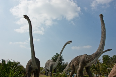 Statues of dinosaurs. Other tourist attractions. And archaeological remains that were discovered after the Black Book. In Thailand. The discovery of several hundred million years old.