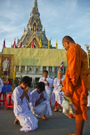 Thailand is Buddhism city has the respect builds   wasp   Buddha has the faith builds   wasp   the Buddhism , be culture good tradition , there are a lot of monks in Thailand , and have construction accident identity site in the Buddhism stays general , Stock Photo - 13714644