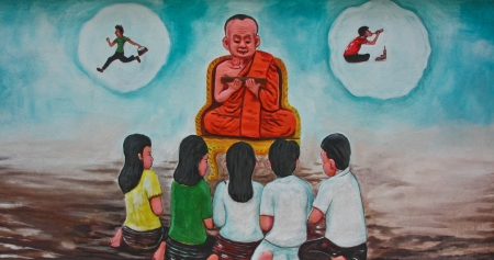 it is a picture swells on one temple wall in Thailand , tell being activity of suburb community , tell arrive at the being of the life preceding Stock Photo - 13996452