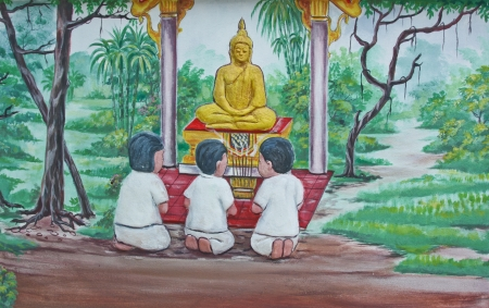 swells: it is a picture swells on one temple wall in Thailand , tell being activity of suburb community , tell arrive at the being of the life preceding Stock Photo