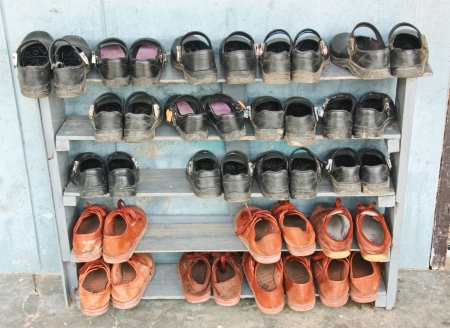 The shoes are available in various versions of the journey of each human life Stock Photo - 15188694